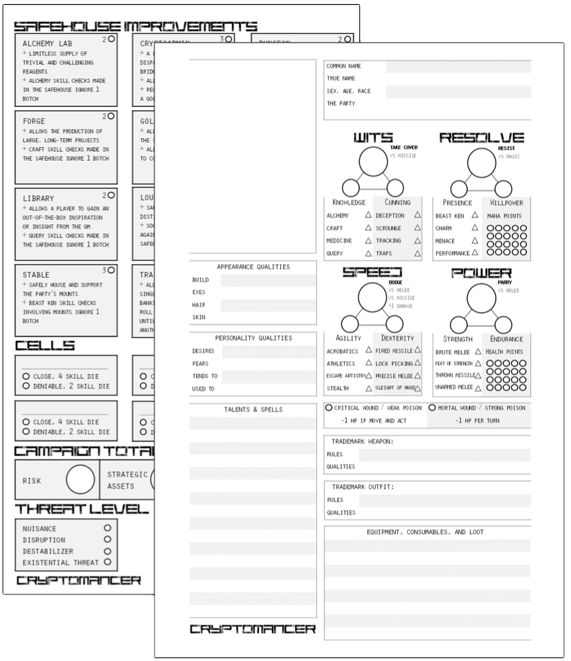 Character and Safehouse sheets